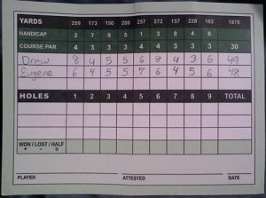 Scorecard from Cantiague (Drew and I)